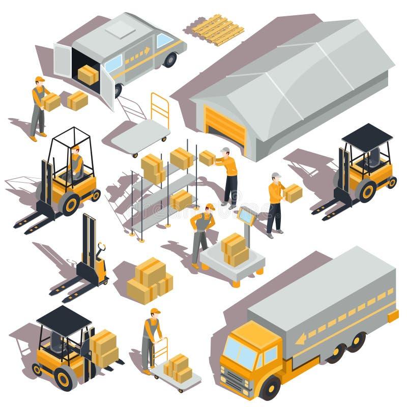 icônes isométriques logistiques et de la livraison illustration libre de droits
