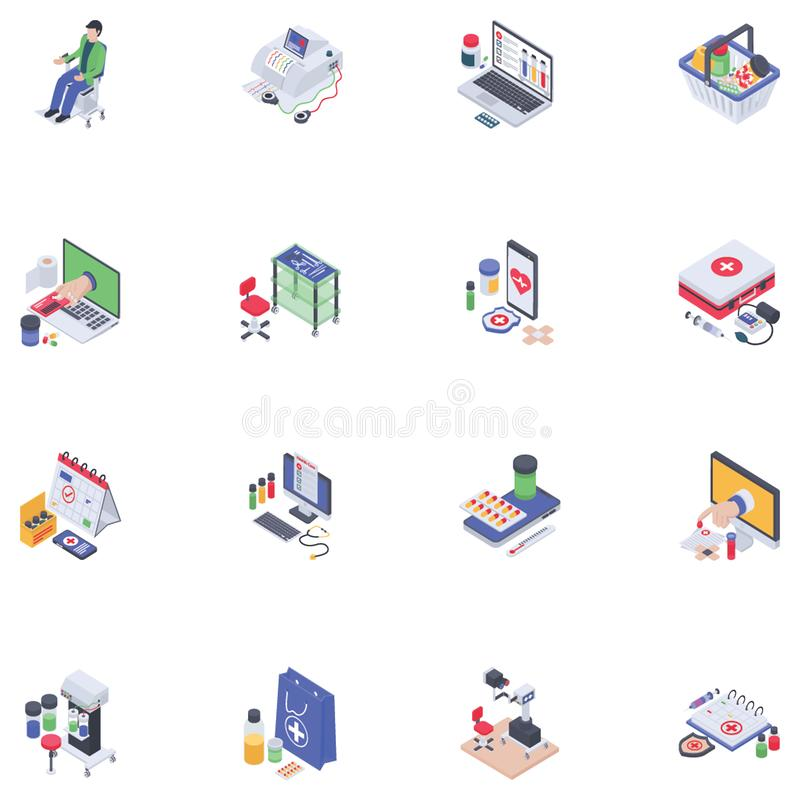 Ic?nes isom?triques m?dicales illustration stock