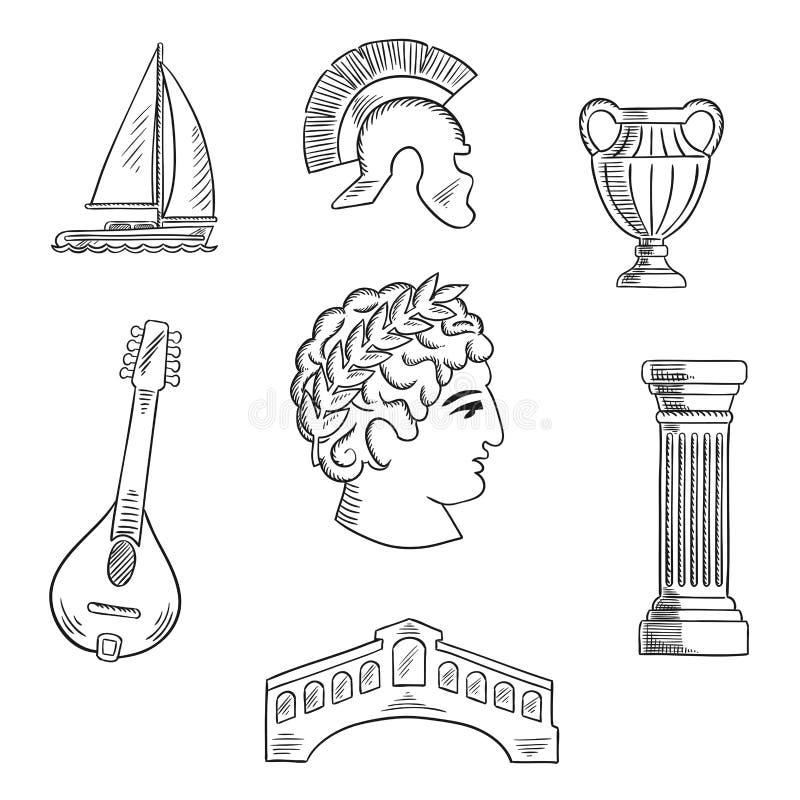 Icônes italiennes de culture, d'histoire et de voyage illustration libre de droits