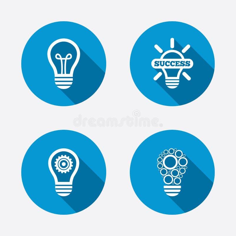 Icônes légères de lampe Symboles économiseurs d'énergie illustration de vecteur