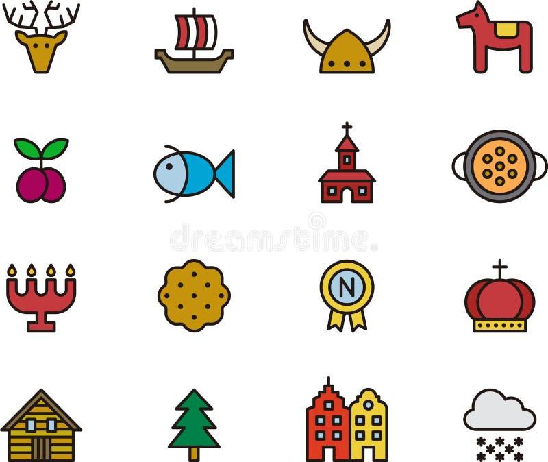 Icônes liées à la Suède illustration stock