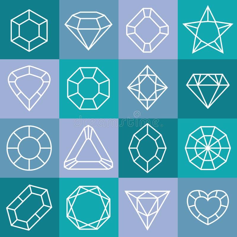 Icônes linéaires de diamant réglées illustration de vecteur