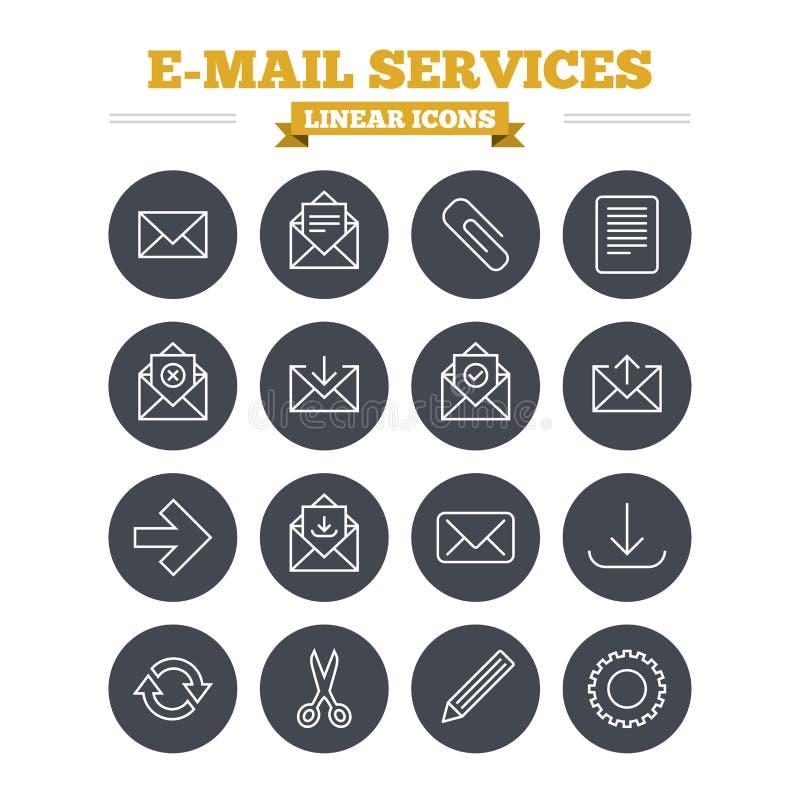 Icônes linéaires de services de messagerie réglées Signes minces d'ensemble illustration stock