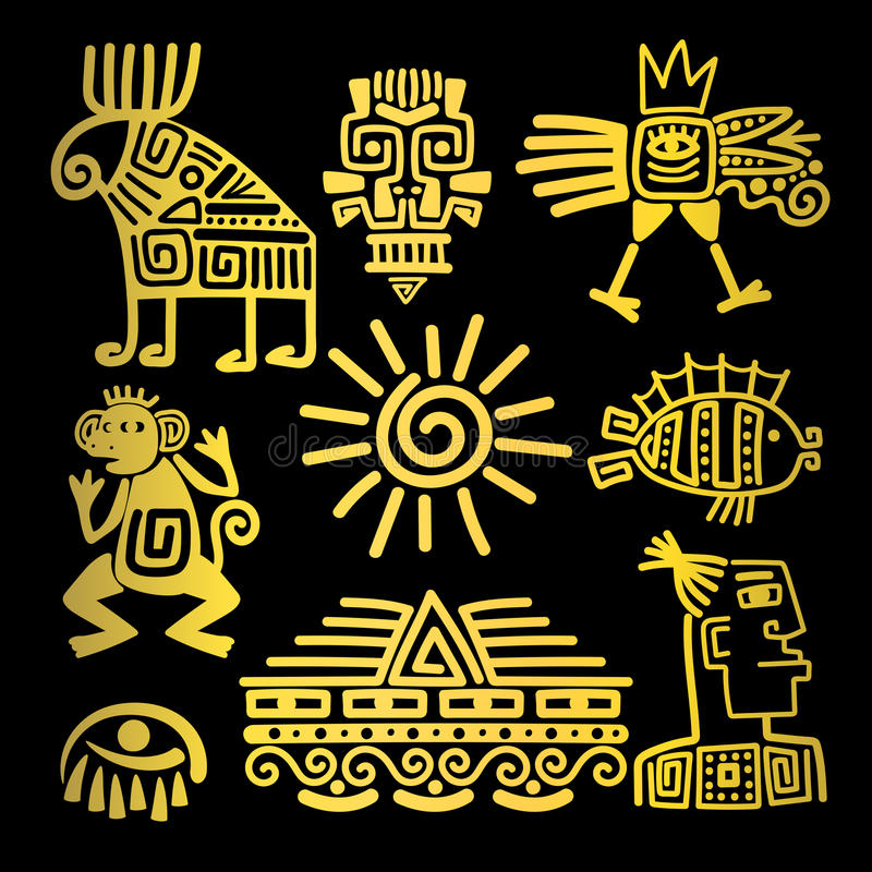 Icônes linéaires de totem d'or de style de Maya illustration libre de droits
