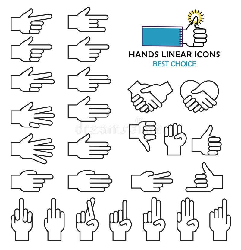 Icônes linéaires modernes de main de vecteur de conception et illustration de vecteur