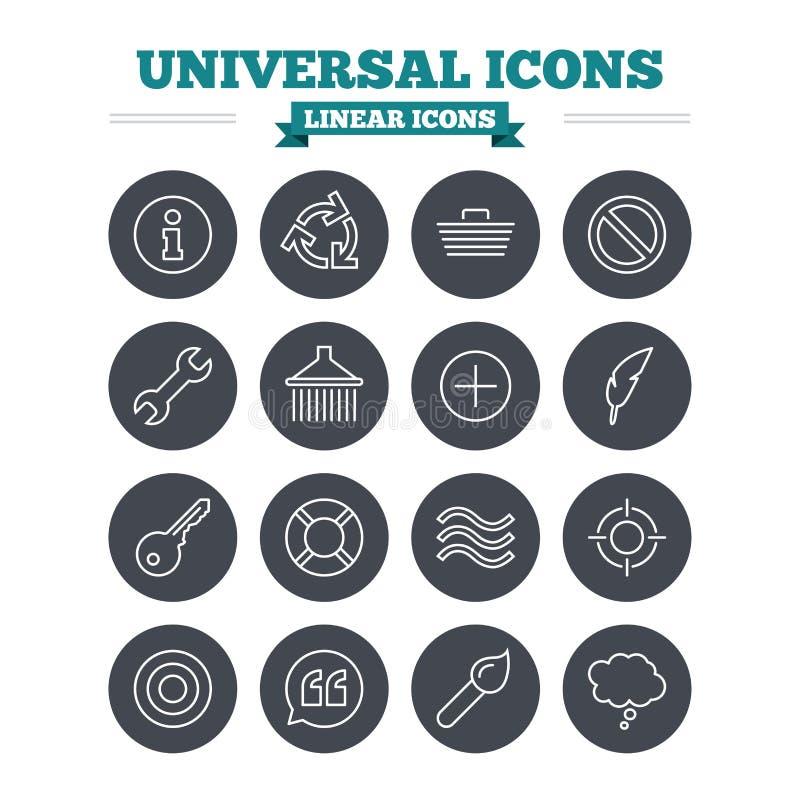 Icônes linéaires universelles réglées Signes minces d'ensemble illustration libre de droits