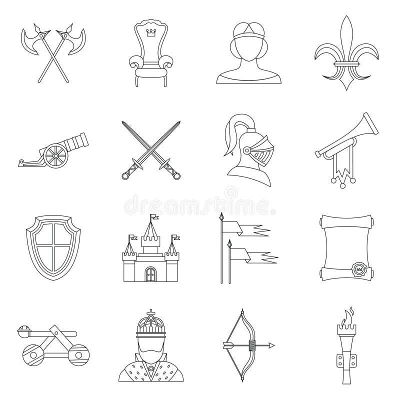 Icônes médiévales de chevalier réglées, style d'ensemble illustration libre de droits