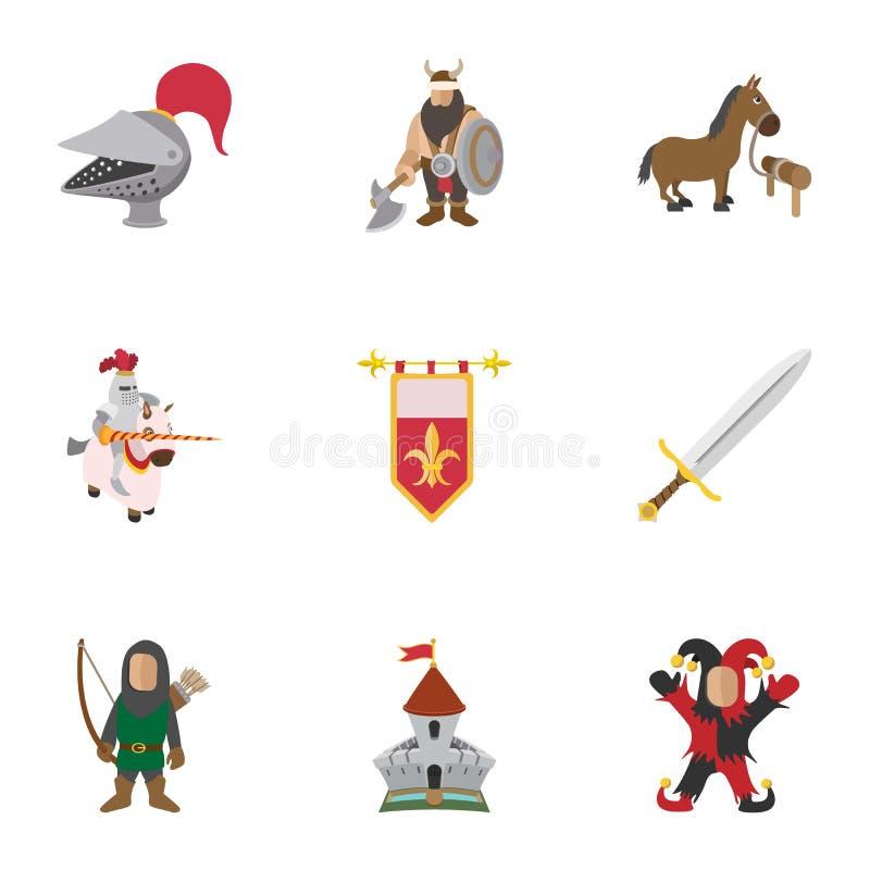 Icônes médiévales de chevalier réglées, style de bande dessinée illustration stock