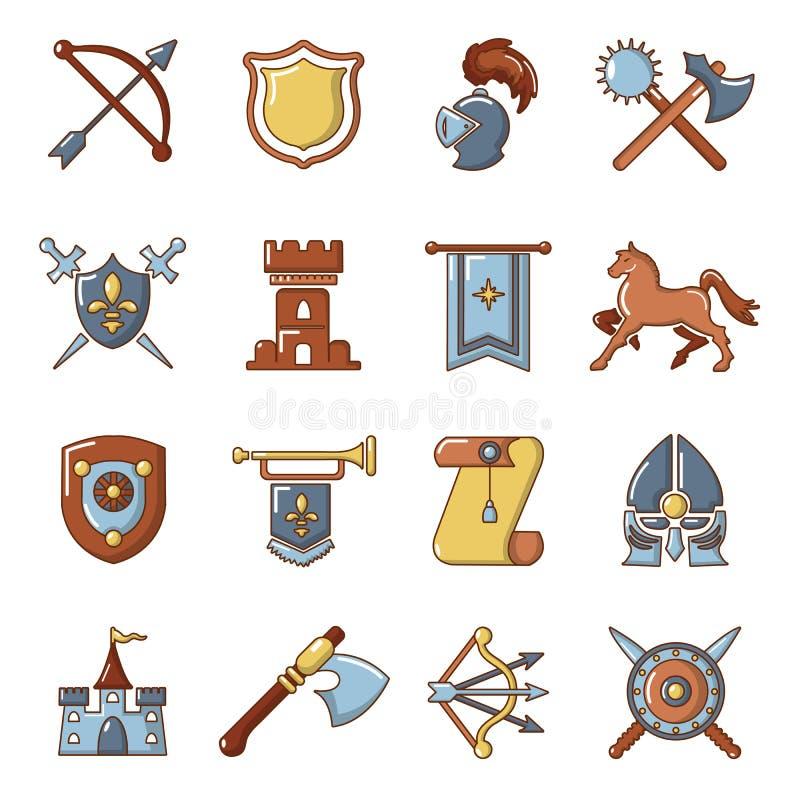 Icônes médiévales de chevalier réglées, style de bande dessinée illustration de vecteur