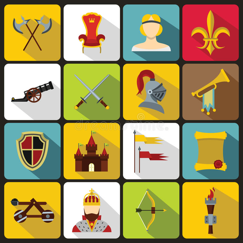 Icônes médiévales de chevalier réglées, style plat illustration libre de droits