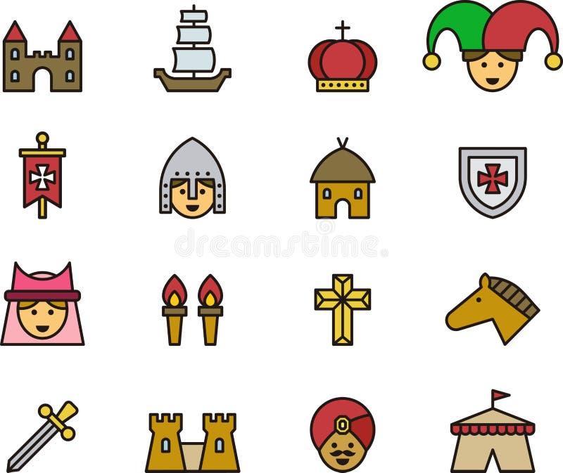 Icônes médiévales et de Moyens Âges illustration stock
