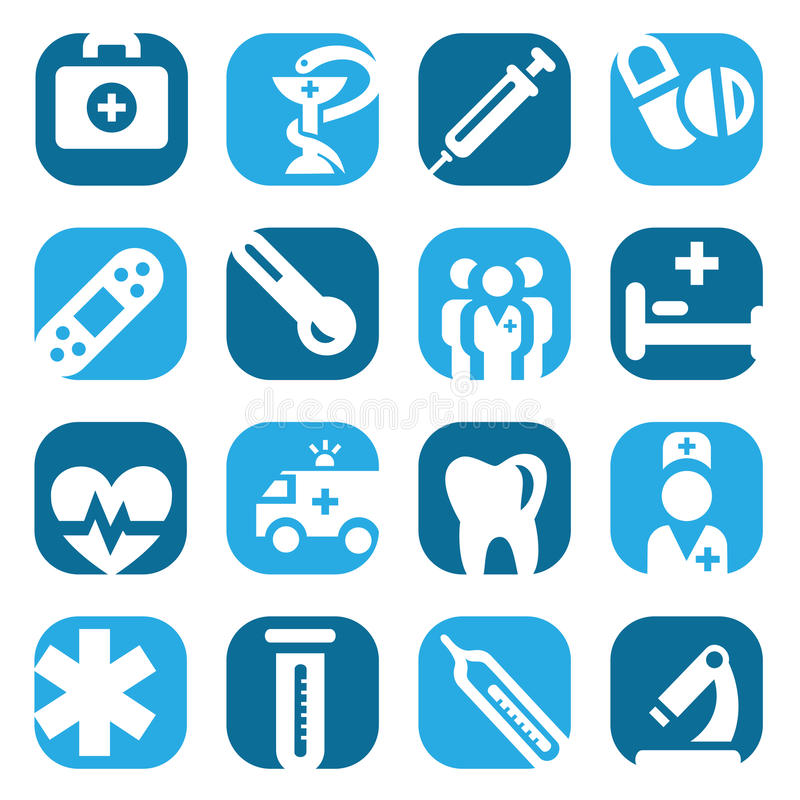 Ensemble médical d'icône de couleur illustration stock