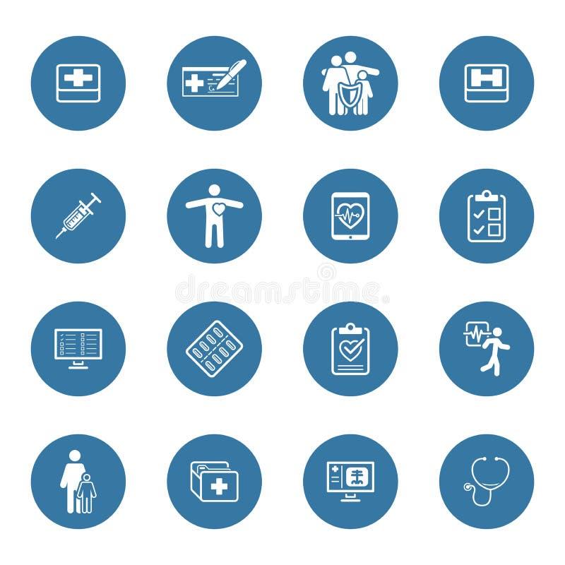 Icônes médicales et de soins de santé réglées Conception plate illustration stock