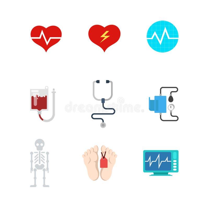 Icônes médicales plates de Web de vecteur : sang de la mort de la vie de patient hospitalisé illustration de vecteur
