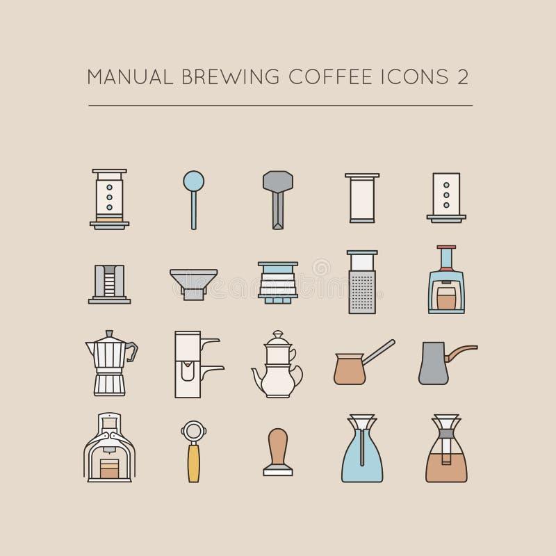 Icônes manuelles 2 de café de brassage illustration de vecteur