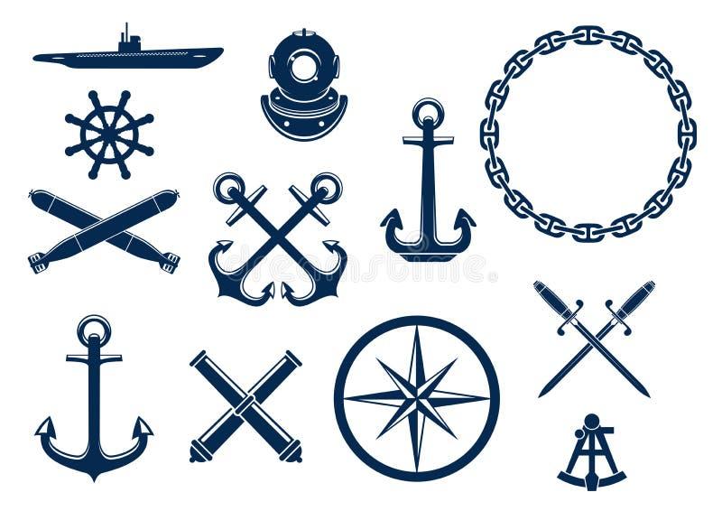 Icônes marines et nautiques réglées illustration stock