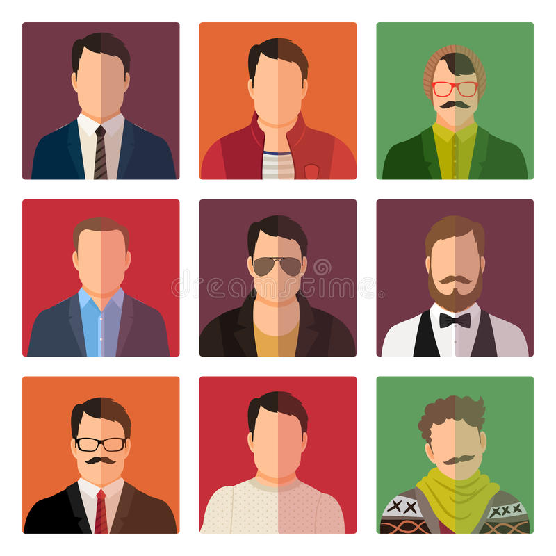 Icônes masculines d'avatar dans le style occasionnel illustration stock