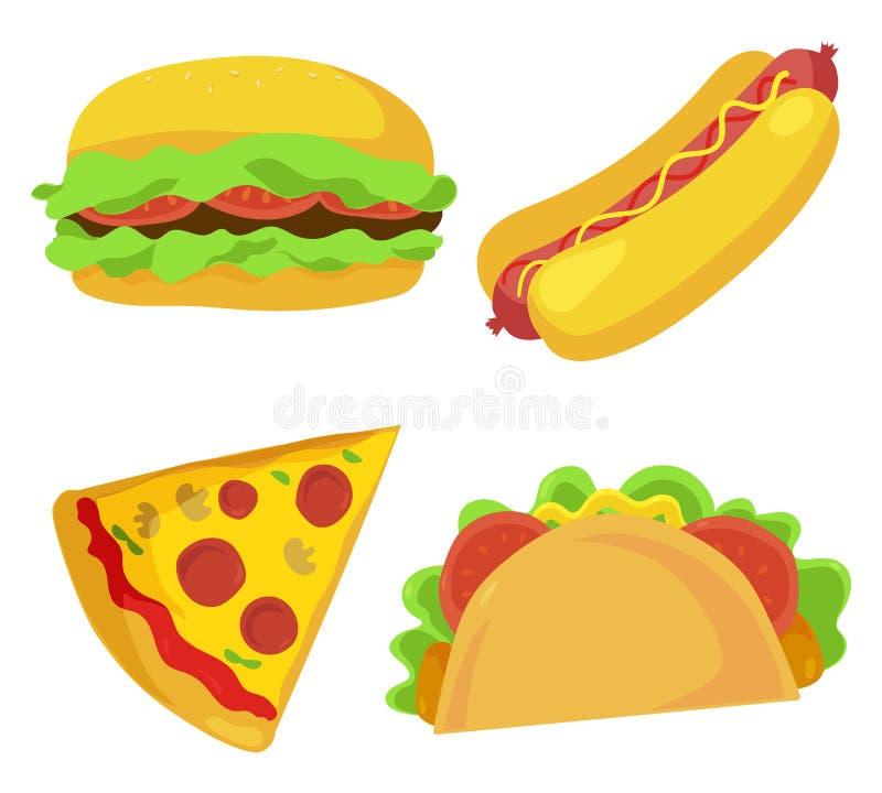 Icônes mignonnes d'aliments de préparation rapide réglées Illustration de vecteur illustration de vecteur