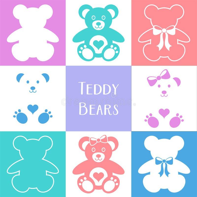 Icônes mignonnes d'ours de nounours illustration libre de droits