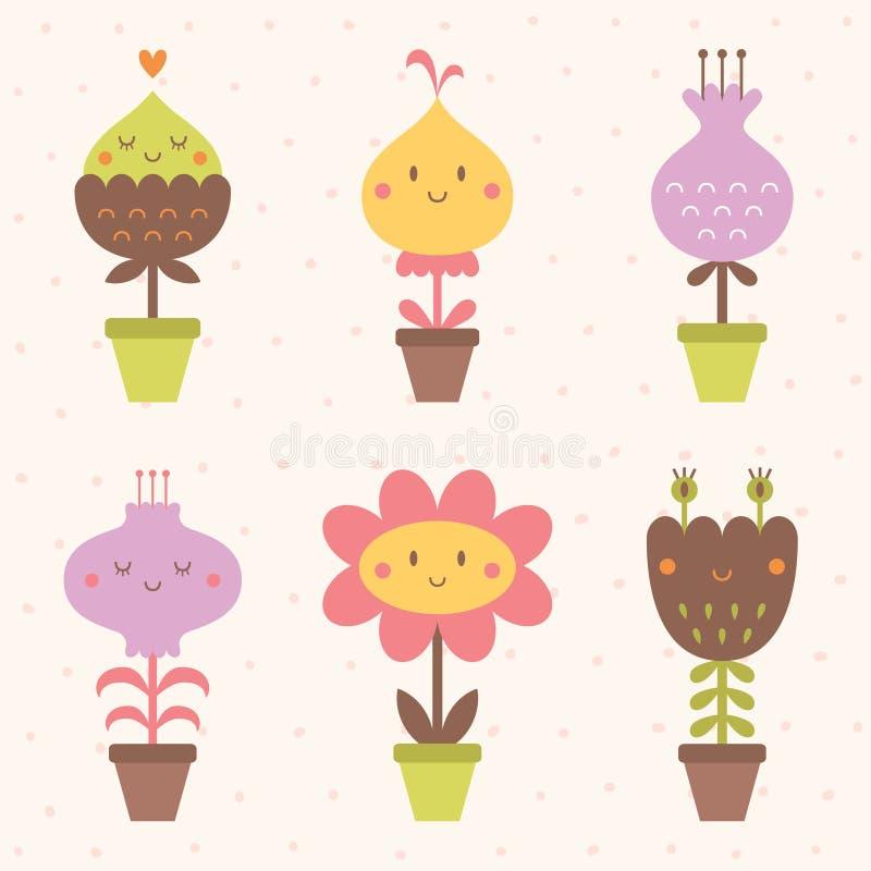 Icônes mignonnes de fleur réglées photographie stock libre de droits