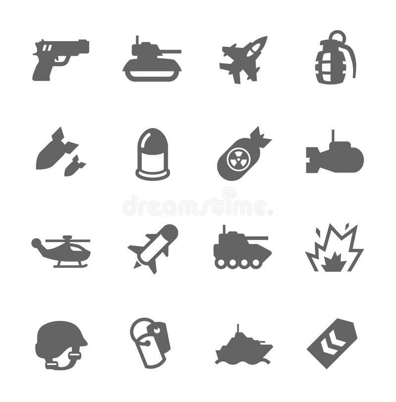 Icônes militaires illustration de vecteur