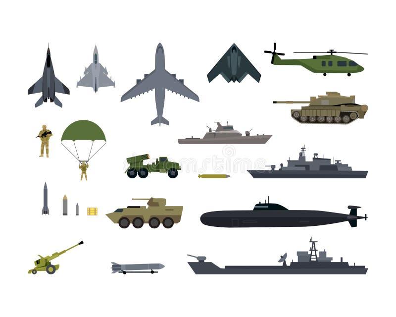 Icônes militaires d'armée de ressources réglées Munitions de guerre illustration libre de droits