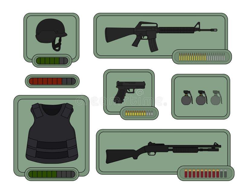 Icônes militaires d'armes Ressources de jeu illustration de vecteur