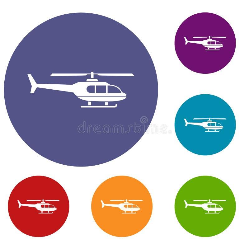 Icônes militaires d'hélicoptère réglées illustration libre de droits
