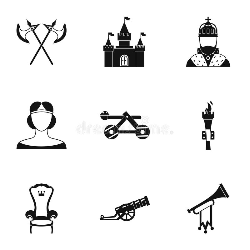 Icônes militaires de Moyens Âges réglées, style simple illustration de vecteur