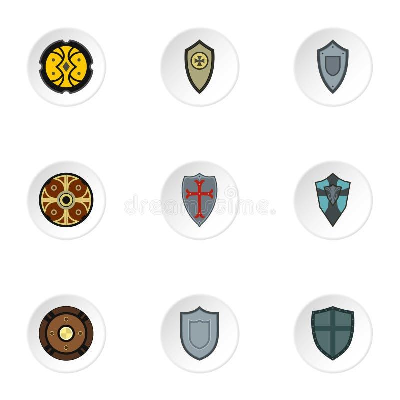 Icônes militaires de shieldd réglées, style plat illustration stock