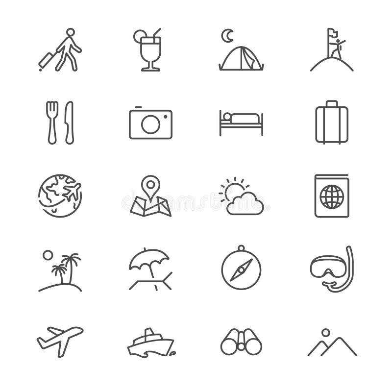 Icônes minces de déplacement illustration stock