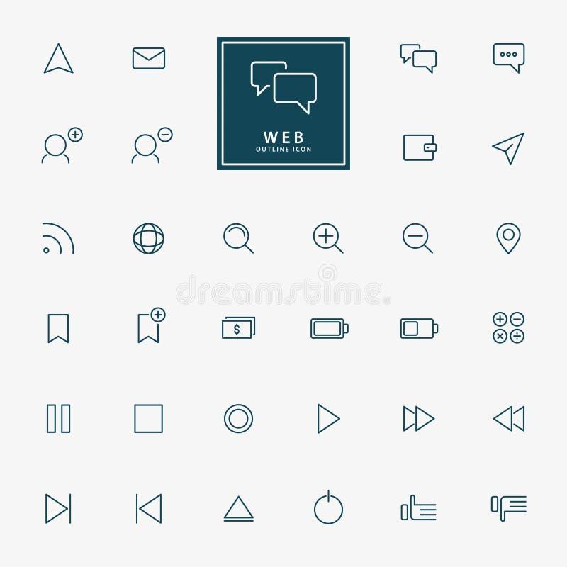 32 icônes minimales d'ensemble de Web illustration de vecteur