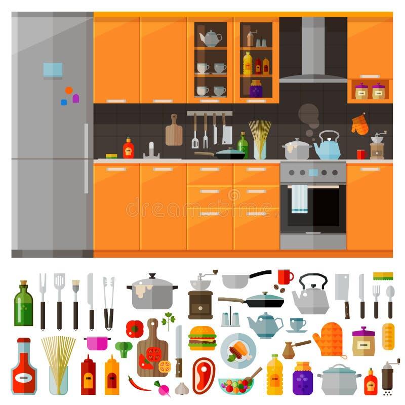 Icônes modernes de cuisine réglées Vecteur plat illustration de vecteur