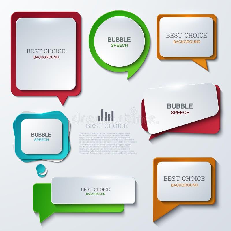 Icônes modernes de la parole de bulle de vecteur réglées illustration libre de droits