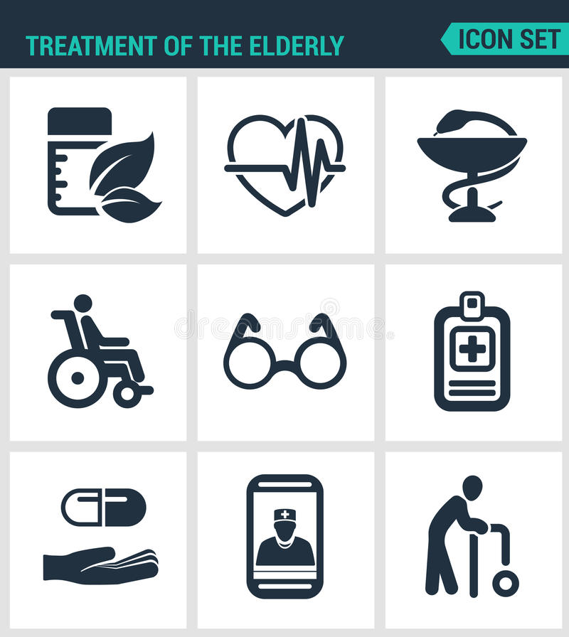 Icônes modernes réglées Traitement la médecine pluse âgé, palpitations cardiaques, pharmacie, handicapé, verres, pilules de liste illustration de vecteur