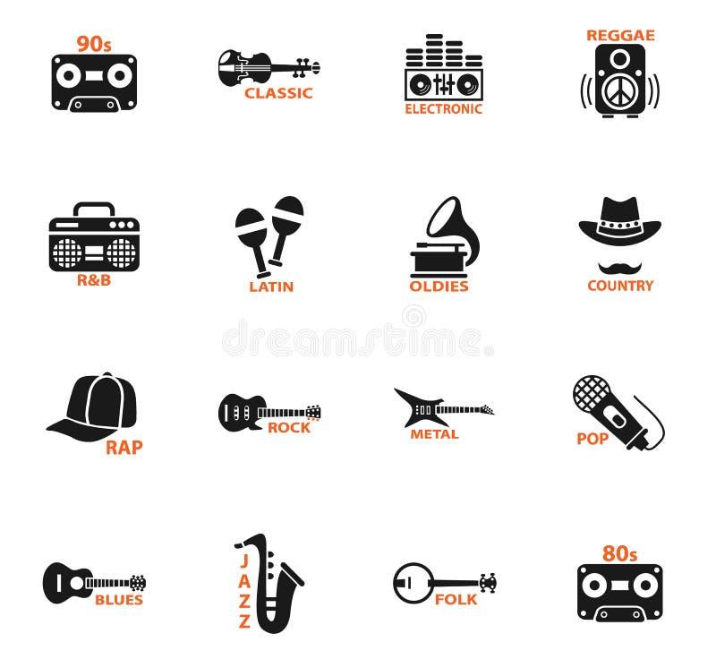 Icônes musicales de Web de genre illustration stock