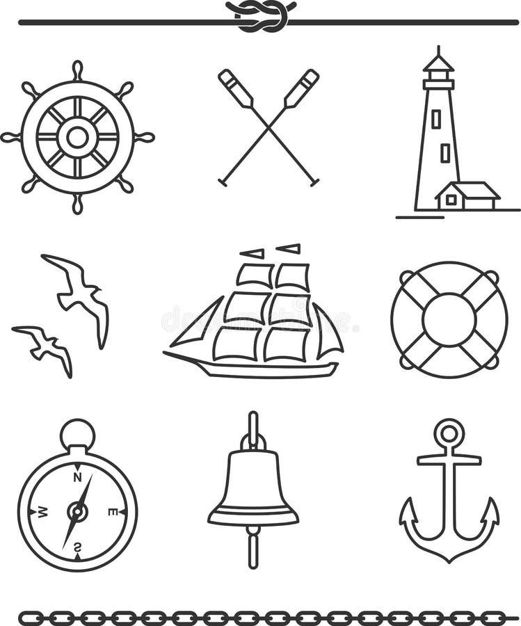 Icônes nautiques illustration libre de droits