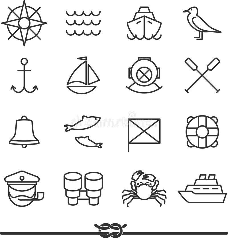 Icônes nautiques illustration stock