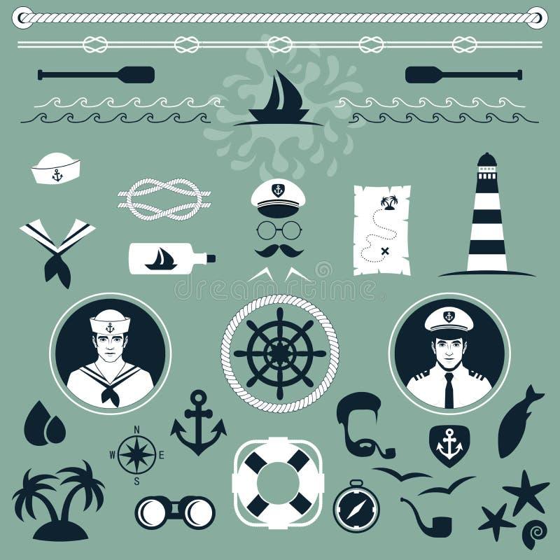 Icônes nautiques, illustration de vecteur