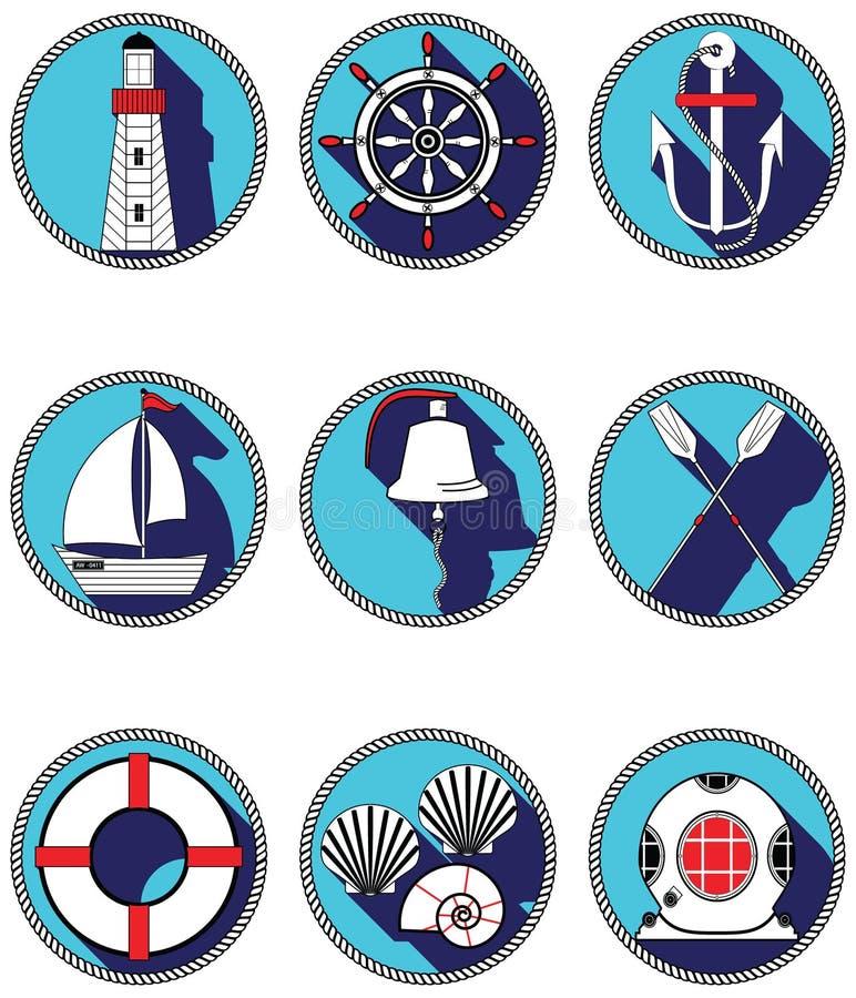 Icônes nautiques des éléments I en cercle noué comprenant la cloche de bateau, bateau, avirons, gouvernail de direction, masque d illustration stock