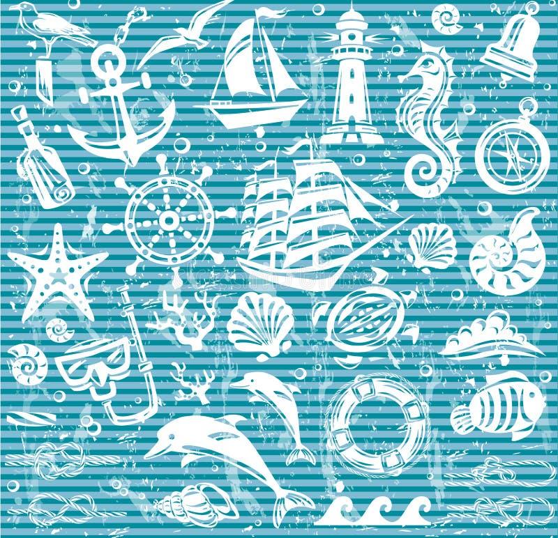 Icônes nautiques et de mer réglées illustration de vecteur