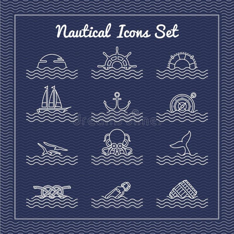 Icônes nautiques réglées illustration de vecteur