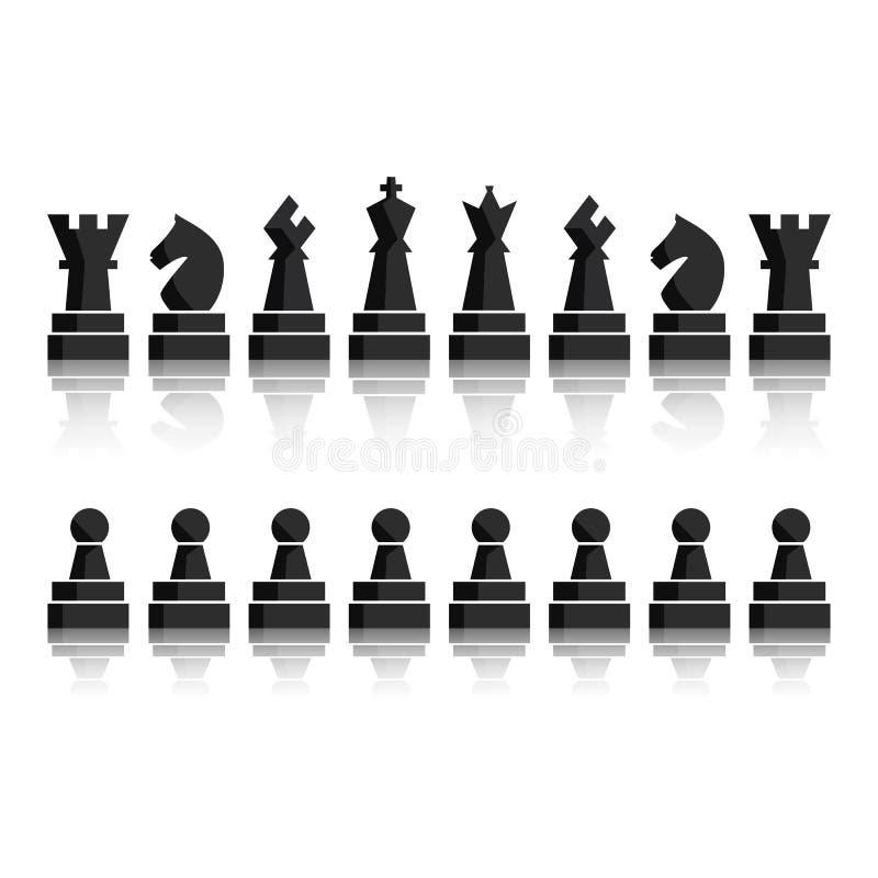 Icônes noires d'échecs réglées Chiffres d'échiquier illustration stock
