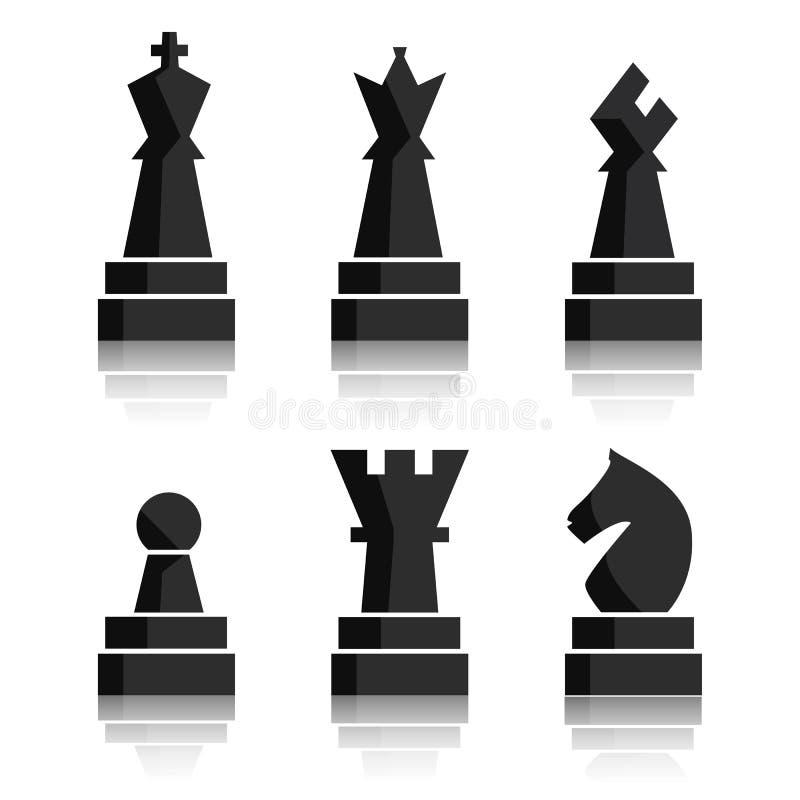 Icônes noires d'échecs réglées Chiffres d'échiquier Pièces d'échecs d'illustration Neuf objets différents comprenant le roi, rein illustration libre de droits