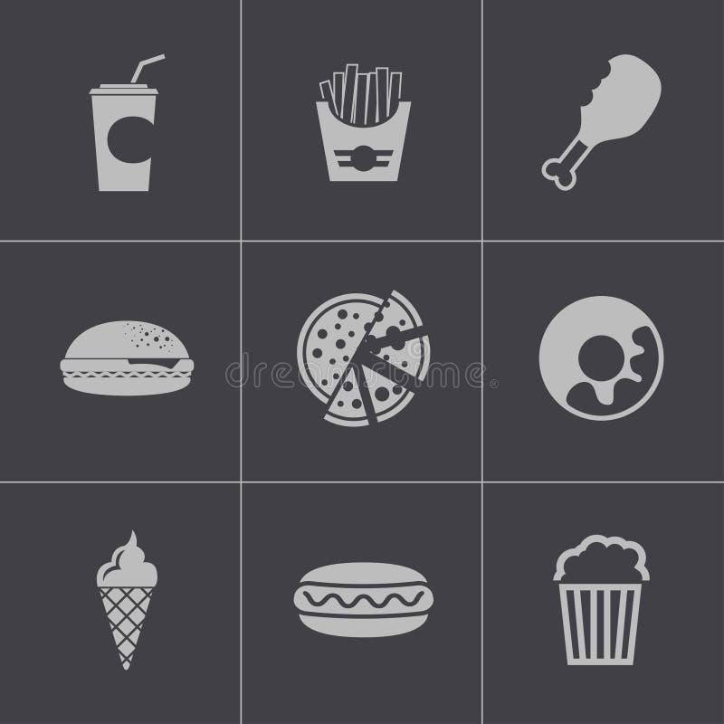 Icônes noires d'aliments de préparation rapide de vecteur réglées illustration stock