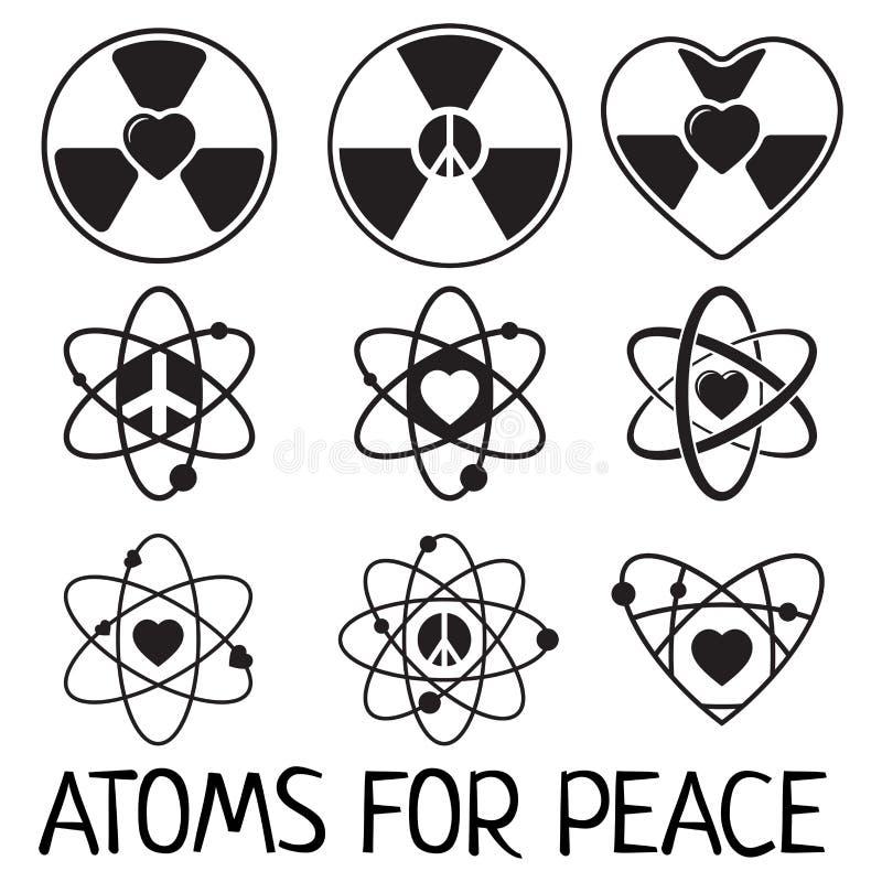 Icônes noires d'atome de vecteur réglées illustration libre de droits