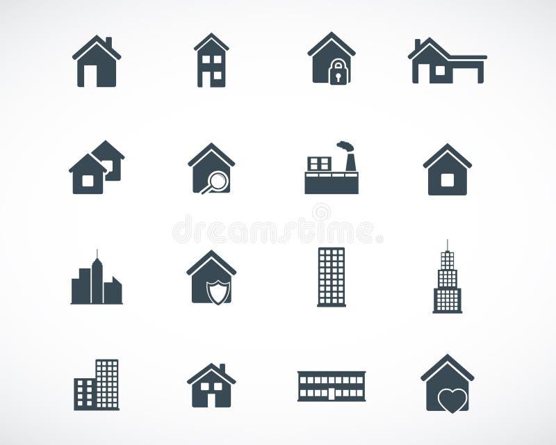 Icônes noires de bâtiment de vecteur illustration de vecteur