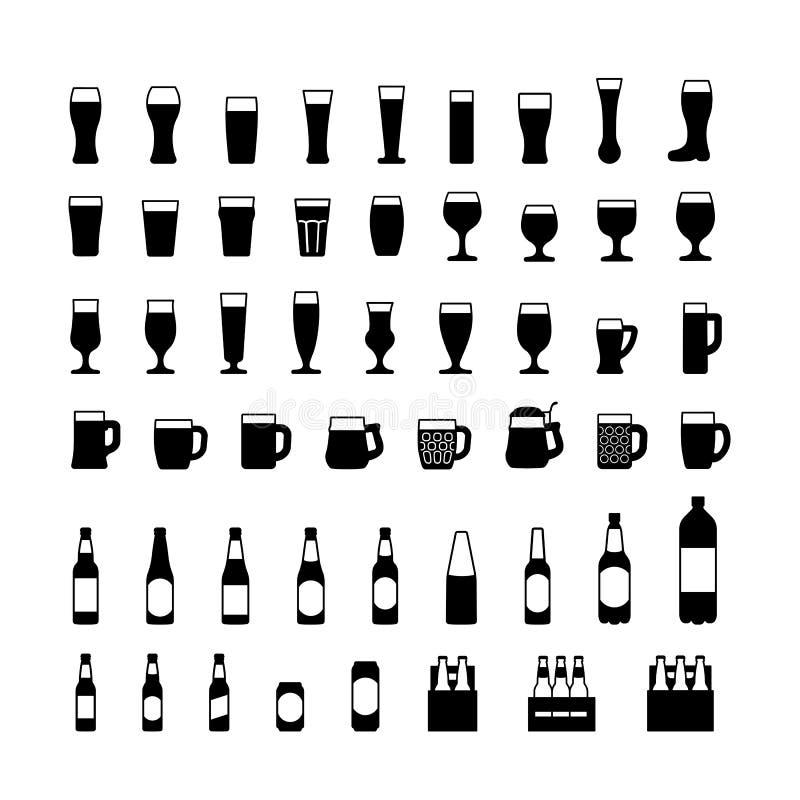 Icônes noires de bouteilles et en verre à bière réglées Vecteur illustration de vecteur