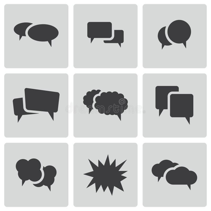 Icônes noires de bulle de la parole de vecteur réglées illustration stock