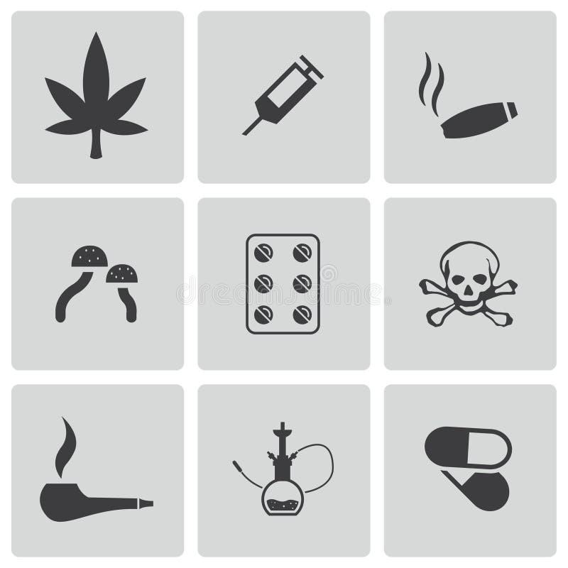 Icônes noires de drogues de vecteur réglées illustration stock